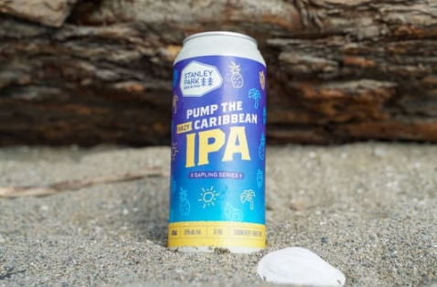 a can of pump the caribbean hazy ipa in sand on a beach with a shell next to it