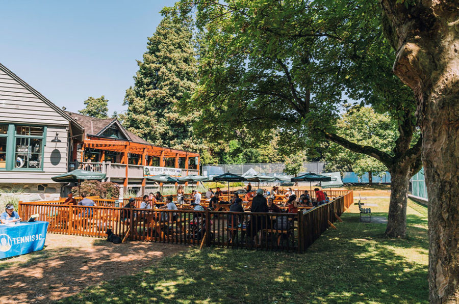 sunny outdoor patios in a park