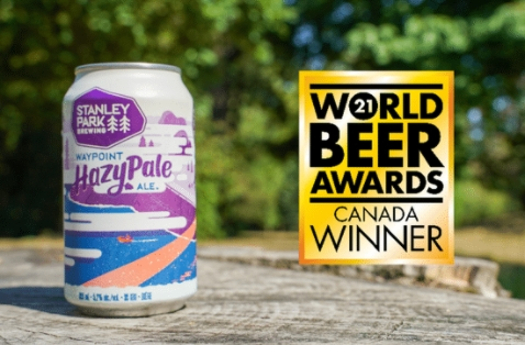 a can of waypoint hazy pale ale with a gold award